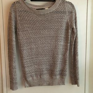 Grey Sweater with Metallic Threads